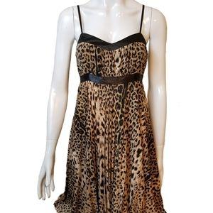 Lovelygirl leopard print slip dress with ribbon
